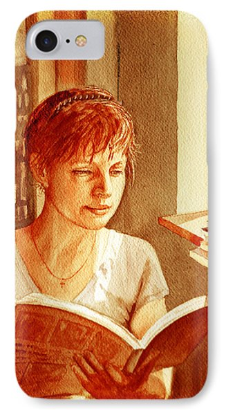 IPhone 7 Case featuring the painting Reading A Book Vintage Style by Irina Sztukowski