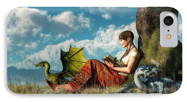 Dungeon iPhone 7 Case - Reading About Dragons by Daniel Eskridge