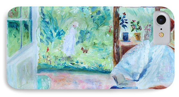 Reading By The Garden IPhone Case by Aleezah Selinger