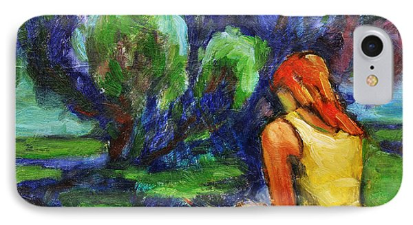 IPhone Case featuring the painting Reading In A Park by Xueling Zou