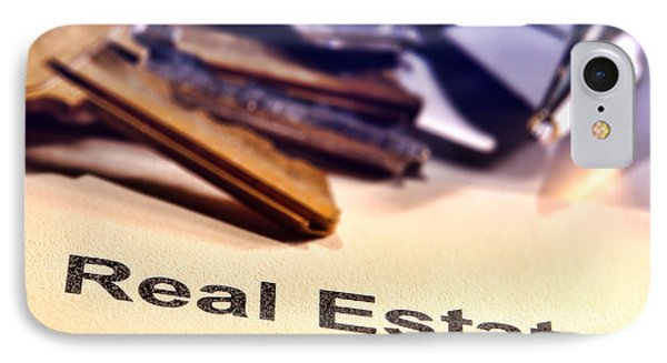 Real Estate Title Word On A Realtor Contract Page IPhone Case by Olivier Le Queinec