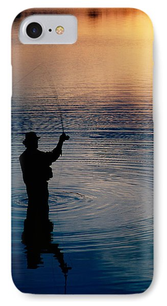 Rear View Of Fly-fisherman Silhouetted IPhone Case by Panoramic Images