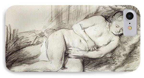 Reclining Female Nude Black Chalk And Bodycolour On Paper IPhone Case