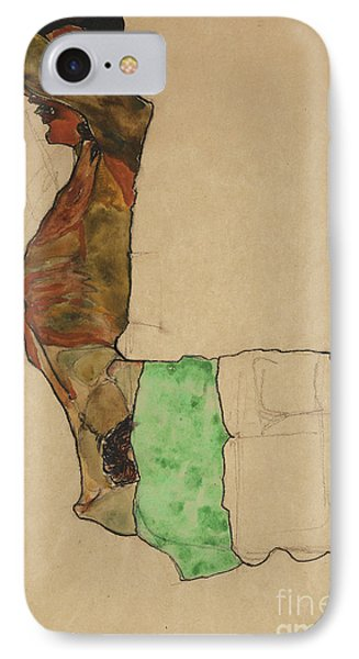 Reclining Male Nude With Green Cloth IPhone Case by Egon Schiele