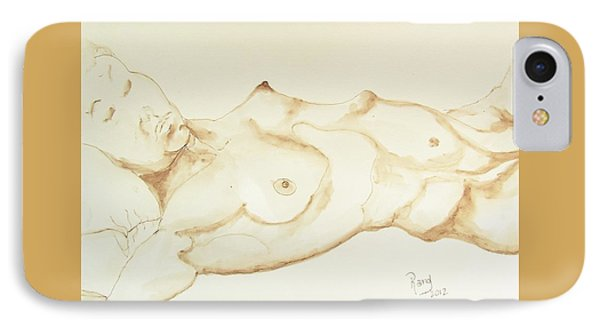 IPhone Case featuring the drawing Reclining Nude In Walnut Ink by Rand Swift
