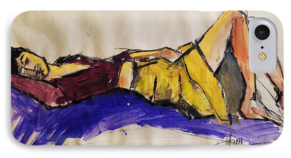Reclining Woman - Pia #5 - Figure Series IPhone Case by Mona Edulesco