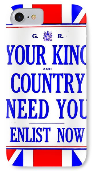 Recruiting Poster - Britain - King And Country Phone Case by Benjamin Yeager