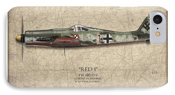 Red 1 Focke-wulf Fw-190d - Map Background IPhone Case by Craig Tinder