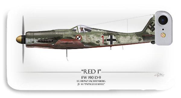 Red 1 Focke-wulf Fw-190d - White Background IPhone Case by Craig Tinder