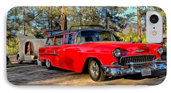 IPhone Case featuring the painting Red '55 Chevy Wagon by Michael Pickett