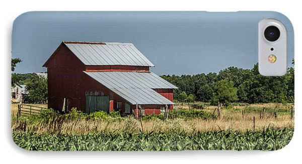 Red Amish Barn And Corn Fields Phone Case by Kathy Clark
