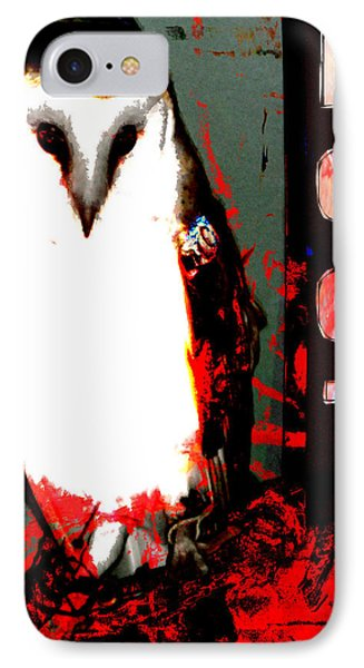 IPhone Case featuring the digital art Red And Black Owl Art by John Fish