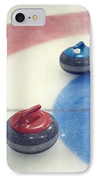 Red And Blue Curling Rock IPhone Case by Priska Wettstein