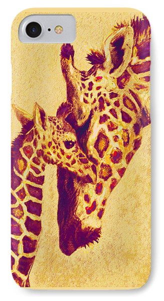 Red And Gold Giraffes Phone Case by Jane Schnetlage
