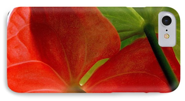 Red And Green Anthurium Phone Case by Ranjini Kandasamy