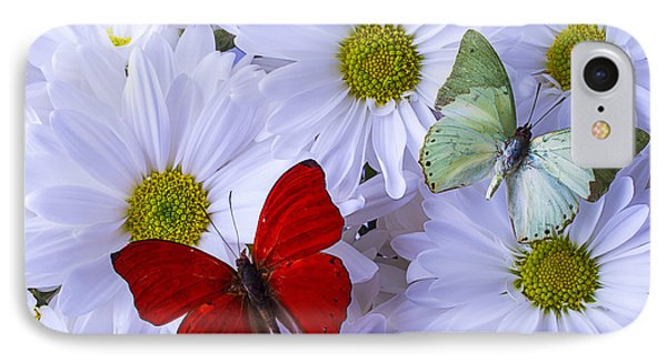 Red And Green Butterflies IPhone Case by Garry Gay