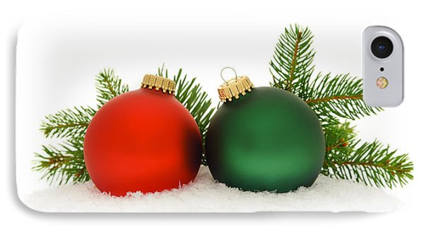 Red And Green Christmas Baubles Phone Case by Elena Elisseeva