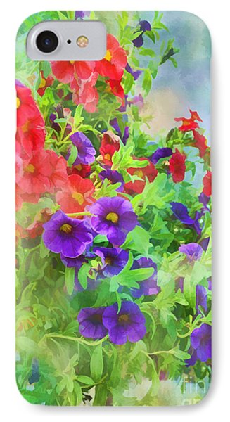 Red And Purple Calibrachoa - Digital Paint I IPhone Case by Debbie Portwood
