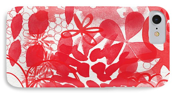 Red And White Bouquet- Abstract Floral Painting IPhone Case