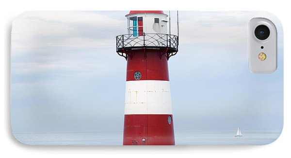 Red And White Lighthouse Phone Case by Peter Zoeller