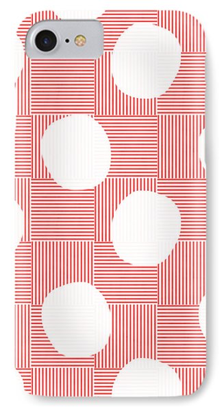 Red And White Poof  IPhone Case by Linda Woods