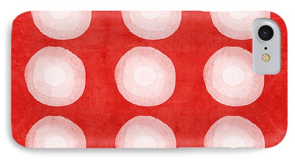Red And White Shibori Circles IPhone Case by Linda Woods