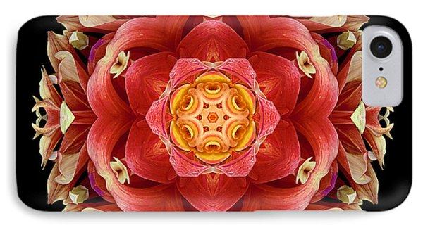 Red And Yellow Dahlia IIi Flower Mandala Phone Case by David J Bookbinder