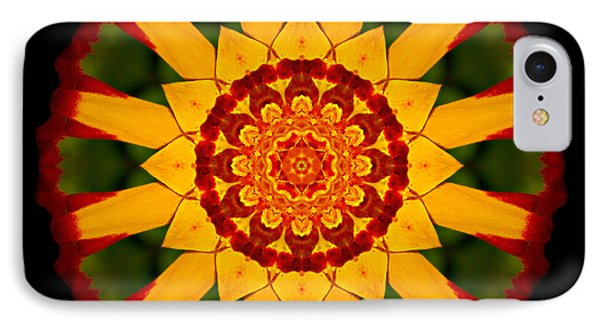 Red And Yellow Marigold V Flower Mandala Phone Case by David J Bookbinder