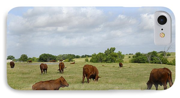 IPhone Case featuring the photograph Red Angus Cattle by Charles Beeler