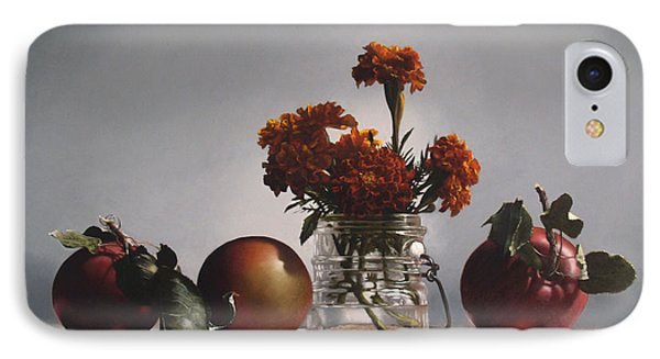 Red Apples And Marigolds Phone Case by Larry Preston