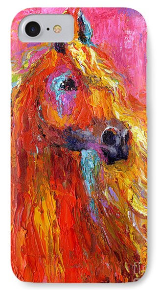 Red Arabian Horse Impressionistic Painting IPhone Case by Svetlana Novikova