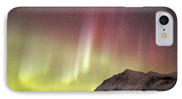 Red Aurora Borealis Over Carcross Phone Case by Joseph Bradley