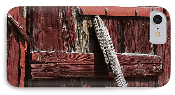 Red Barn Abstract IPhone Case by Rebecca Sherman