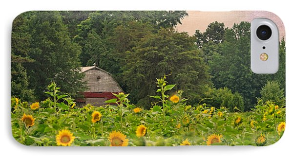 Red Barn Among The Sunflowers IPhone Case by Sandi OReilly