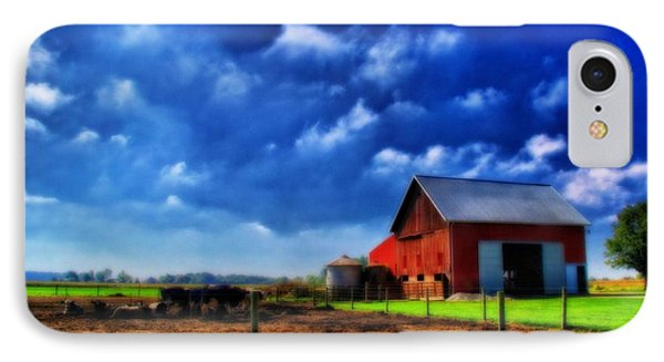 Red Barn And Cows In Ohio Phone Case by Dan Sproul