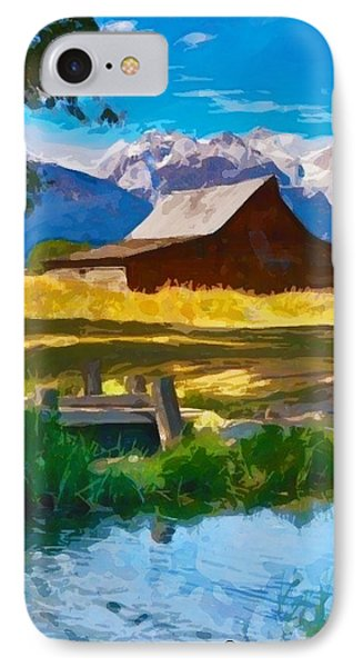 Red Barn And Mountains  IPhone Case by Mary M Collins
