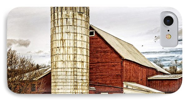 Red Barn And Silo Vermont IPhone Case by Edward Fielding