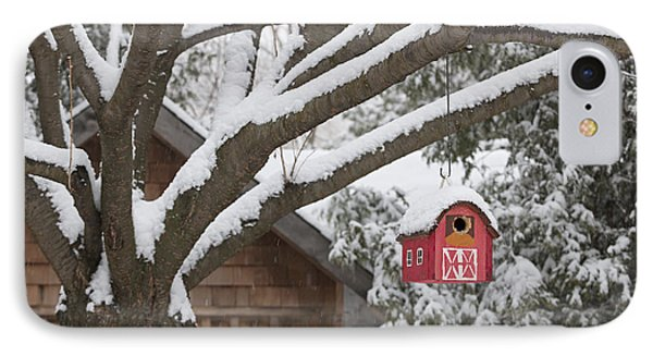 Red Barn Birdhouse On Tree In Winter IPhone Case by Elena Elisseeva
