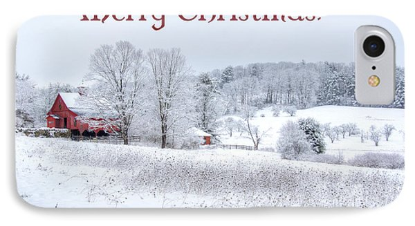Red Barn Christmas Card IPhone Case