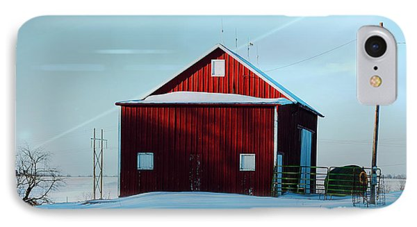 Red Barn During Illinois Winter Phone Case by Luther Fine Art