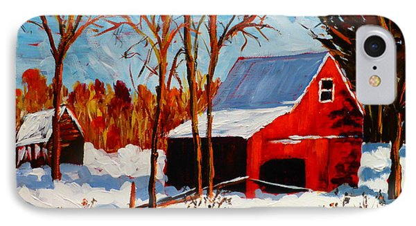Red Barn First Snow IPhone Case by Diane Arlitt