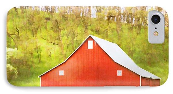 Red Barn Green Hillside Phone Case by Carol Leigh
