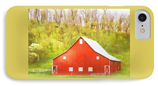 Red Barn Green Hillside IPhone Case by Carol Leigh