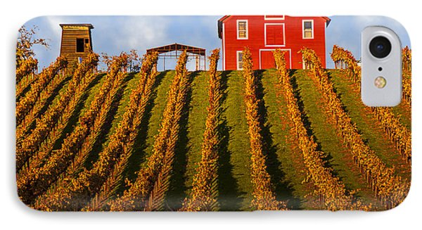 Red Barn In Autumn Vineyards IPhone Case by Garry Gay