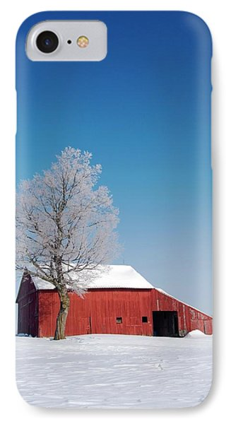 Red Barn In Snow IPhone Case by Jim West