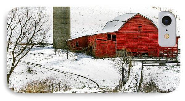 Red Barn In Snow Phone Case by John Haldane