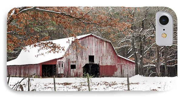 Red Barn In Snow IPhone Case by Robert Camp