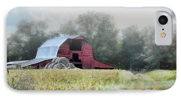 Red Barn In The Fog IPhone Case by Jai Johnson