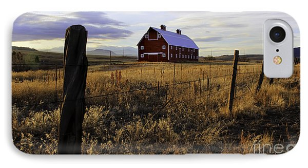 Red Barn In The Golden Field IPhone Case