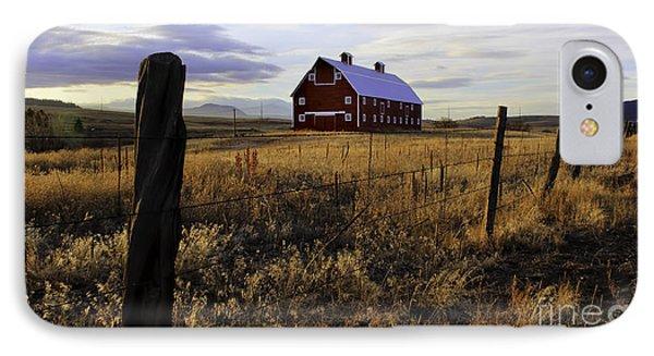 Red Barn In The Golden Field IPhone Case by Kristal Kraft